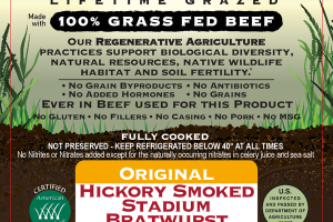ORIGINAL HICKORY SMOKED 100% GRASS FED BEEF STADIUM BRATWURST