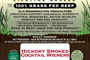 HICKORY SMOKED 100% GRASS FED BEEF COCKTAIL WIENERS