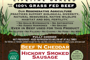 BEEF 'N CHEDDAR HICKORY SMOKED 100% GRASS FED BEEF SAUSAGE
