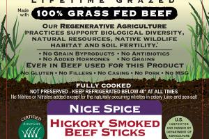 NICE SPICE HICKORY SMOKED 100% GRASS FED BEEF STICKS