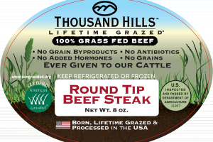 100% GRASS FED ROUND TIP BEEF STEAK