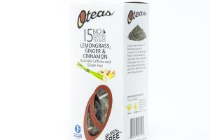 LEMONGRASS, GINGER & CINNAMON ORGANIC BIO DEGRADABLE WHOLE LEAF TEA BAGS