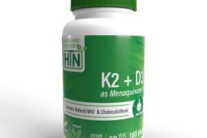 K2 + D3 AS MENAQUINONE-7 CONTAINS NATURAL MK7 & CHOLECALCIFEROL DIETARY SUPPLEMENT VEGE CAPS