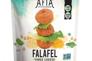 THREE CHEESE FALAFEL A WHOLESOME BLEND OF GARBANZO BEANS, CHEDDAR, COLBY, MONTEREY JACK CHEESE, AND MEDITERRANEAN HERBS & SPICES
