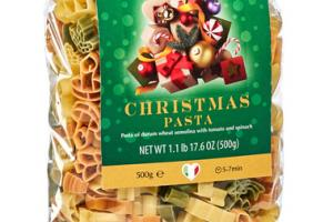 DURUM WHEAT SEMOLINA MULTICOLOR PASTA WITH TOMATO AND SPINACH, CHRISTMAS