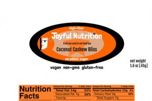 COCONUT CASHEW BLISS FRUIT NUT SEED & OAT FOOD BAR