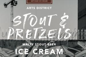 STOUT & PRETZELS MALTY STOUT BEER ICE CREAM WITH CHOCOLATE-COVERED PRETZELS