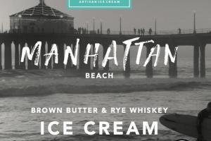 MANHATTAN BEACH BROWN BUTTER & RYE WHISKEY ICE CREAM WITH COCKTAIL CHERRIES & TOFFEE BITS