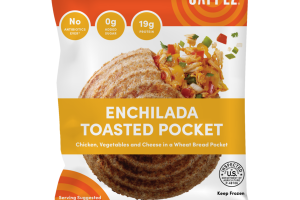 ENCHILADA CHICKEN, VEGETABLES AND CHEESE IN A WHEAT BREAD TOASTED POCKET
