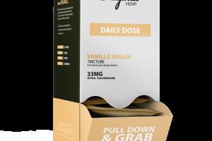FULL SPECTRUM HEMP EXTRACT 33MG ACTIVE CANNABINOIDS DAILY DOSE DIETARY SUPPLEMENT TINCTURE, VANILLA DREAM