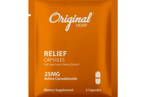 RELIEF FULL SPECTRUM HEMP EXTRACT 25 MG ACTIVE CANNABINOIDS DIETARY SUPPLEMENT CAPSULES