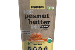 SALTED CARAMEL ORGANIC PEANUT BUTTER POWDER + PLUS WITH ADDED PROBIOTICS