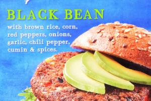 BLACK BEAN WITH BROWN RICE, CORN, RED PEPPERS, ONIONS, GARLIC, CHILI PEPPER, CUMIN & SPICES BURGER