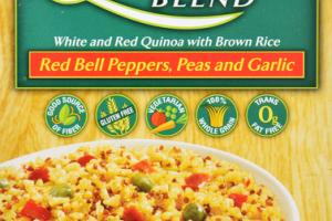 RED BELL PEPPERS, PEAS AND GARLIC QUINOA BLEND WHITE AND RED QUINOA WITH BROWN RICE