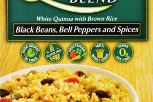 BLACK BEANS, BELL PEPPERS AND SPICES WHITE QUINOA BLEND WITH BROWN RICE