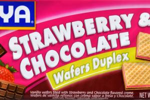 STRAWBERRY & CHOCOLATE VANILLA WAFERS DUPLEX FILLED WITH STRAWBERRY AND CHOCOLATE FLAVORED CREME