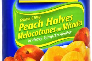 YELLOW CLING PEACH HALVES IN HEAVY SYRUP