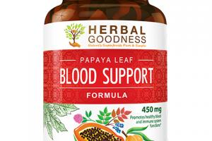 PAPAYA LEAF BLOOD SUPPORT FORMULA 450 MG PROMOTES HEALTHY BLOOD AND IMMUNE SYSTEM FUNCTIONS DIETARY SUPPLEMENT CAPSULES