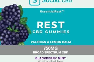 ESSENTIALREST™ BROAD SPECTRUM 750MG CBD VALERIAN & LEMON BALM DIETARY SUPPLEMENT GUMMIES BLACKBERRY MINT