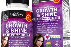 FAST ACTING WOMEN'S GROWTH & SHINE HAIR FORMULA WITH BIOTIN DIETARY SUPPLEMENT VEGGIE CAPS
