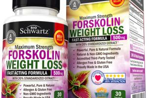 MAXIMUM STRENGTH FORSKOLIN WEIGHT LOSS 500MG WITH 20% STANDARDIZED EXTRACT NATURAL DIETARY SUPPLEMENT VEGGIE CAPS