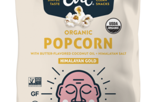 ORGANIC HIMALAYAN GOLD POPCORN WITH BUTTER-FLAVORED COCONUT OIL + HIMALAYAN SALT