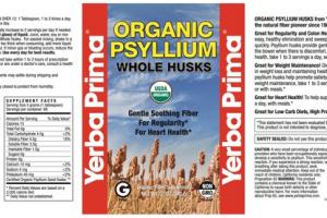 ORGANIC PSYLLIUM WHOLE HUSKS ORGANIC FIBER SUPPLEMENT POWDER