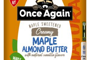MAPLE SWEETENED CREAMY MAPLE ALMOND BUTTER WITH NATURAL VANILLA FLAVOR