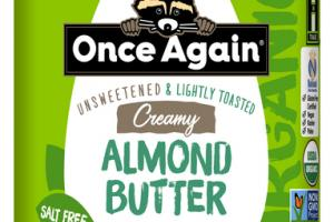CREAMY UNSWEETENED & LIGHTLY TOASTED SALT FREE ALMOND BUTTER