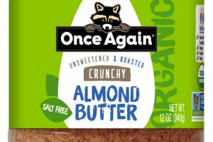 CRUNCHY UNSWEETENED & ROASTED SALT FREE ALMOND BUTTER