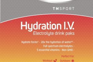 TM SPORTS HYDRATION I.V. DIETARY SUPPLEMENT ELECTROLYTE DRINK PAKS RASPBERRY LEMONADE
