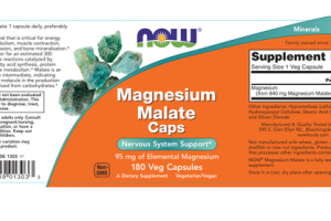 MAGNESIUM MALATE CAPS 95 MG NERVOUS SYSTEM SUPPORT A DIETARY SUPPLEMENT VEG CAPSULES