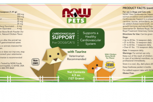 SUPPORTS A HEALTHY CARDIOVASCULAR SYSTEM WITH TAURINE WITH CHICKEN BONE BROTH FOR FLAVOR FOR DOGS/CATS SUPPLEMENT