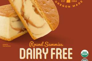 DAIRY FREE CARAMEL DRIZZLE ROUND SAMMIES FROZEN DESSERT SANDWICHES