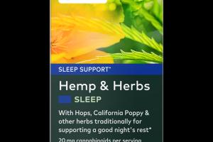 HEMP & HERBS SLEEP SUPPORT HERBAL SUPPLEMENT VEGAN LIQUID PHYTO-CAPS