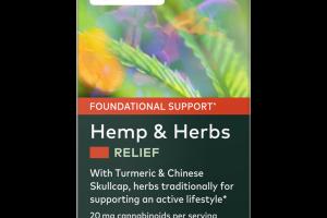 RELIEF HEMP & HERBS FOUNDATIONAL SUPPORT HERBAL SUPPLEMENT VEGAN LIQUID PHYTO-CAPS