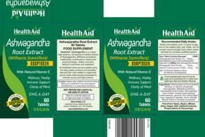 ASHWAGANDHA ROOT EXTRACT (WITHANIA SOMNIFERA) ADAPTOGEN FOOD SUPPLEMENT VEGAN TABLETS