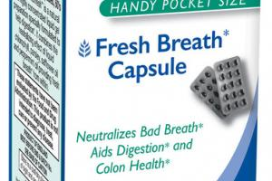 INTERFRESH FRESH BREATH CAPSULE NEUTRALIZES BAD BREATH AIDS DIGESTION AND COLON HEALTH DIETARY SUPPLEMENT SOFTGEL CAPSULES