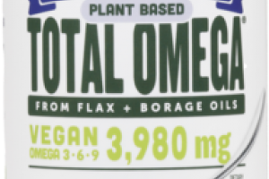 SERIOUSLY DELICIOUS. PLANT BASED VEGAN OMEGA 3 6 9 3,980 MG TOTAL OMEGA FROM FLAX + BORAGE OILS DIETARY SUPPLEMENT POMEGRANATE BLUEBERRY SMOOTHIE