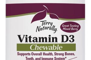 VITAMIN D3 5,000 IU SUPPORTS OVERALL HEALTH, STRONG BONES, TEETH, AND IMMUNE SYSTEM DIETARY SUPPLEMENT CHEWABLE TABLETS, MIXED BERRY