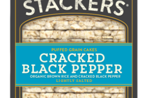 LIGHTLY SALTED CRACKED BLACK PEPPER ORGANIC PUFFED GRAIN RICE CAKES