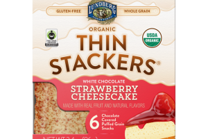 WHITE CHOCOLATE STRAWBERRY CHEESECAKE ORGANIC CHOCOLATE COVERED PUFFED GRAIN SNACKS