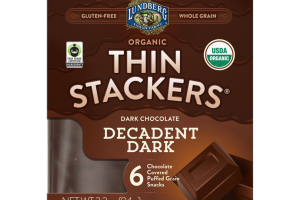 DARK CHOCOLATE DECADENT DARK ORGANIC CHOCOLATE COVERED PUFFED GRAIN SNACKS