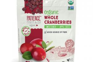 ORGANIC DRIED WHOLE CRANBERRIES SWEETENED WITH APPLE JUICE