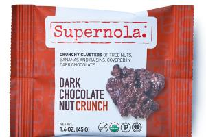 DARK CHOCOLATE NUT CRUNCH CRUNCHY CLUSTERS OF TREE NUTS, BANANAS AND RAISINS, COVERED IN DARK CHOCOLATE