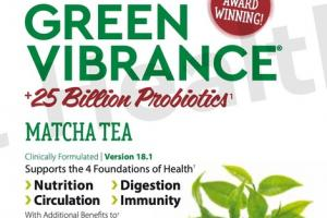 PLANT-BASED SUPERFOOD GREEN VIBRANCE +25 BILLION PROBIOTICS1 DIETARY SUPPLEMENT MATCHA TEA DRINK POWDER