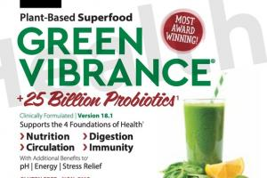 PLANT-BASED SUPERFOOD GREEN VIBRANCE +25 BILLION PROBIOTICS SUPPORTS THE 4 FOUNDATIONS OF HEALTH DIETARY SUPPLEMENT DRINK POWDER