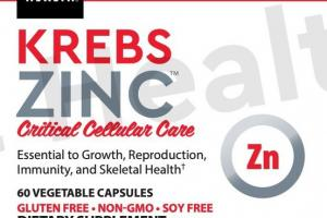 KREBS ZINC CRITICAL CELLULAR CARE ESSENTIAL TO GROWTH, REPRODUCTION, IMMUNITY, AND SKELETAL HEALTH DIETARY SUPPLEMENT VEGETABLE CAPSULES