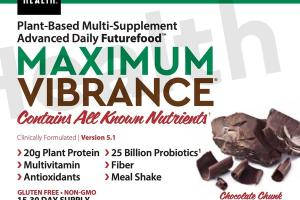 MAXIMUM VIBRANCE 25 BILLION PROBIOTICS, PLANT PROTEIN 20 G ADVANCED DAILY FUTUREFOOD DIETARY SUPPLEMENT POWDER, CHOCOLATE CHUNK