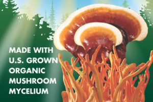 ORGANIC MUSHROOMS MYCELIUM SUPPORTS STRESS & FATIGUE REDUCTION GLUTEN FREE DIETARY SUPPLEMENT VEGETARIAN CAPSULES
